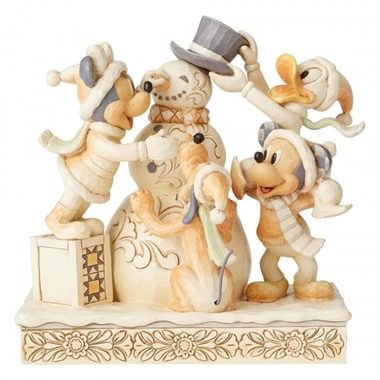 Jim Shore Frosty Friendship (White Woodland Mickey and Friends)